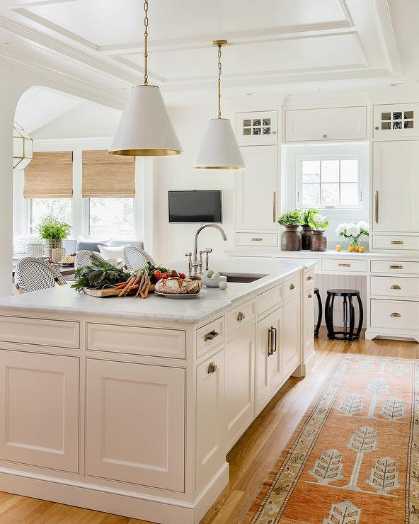 Decorating Above Kitchen Cabinet Design: Dark Stained Wood Ceiling Beams Over Kitchen Island