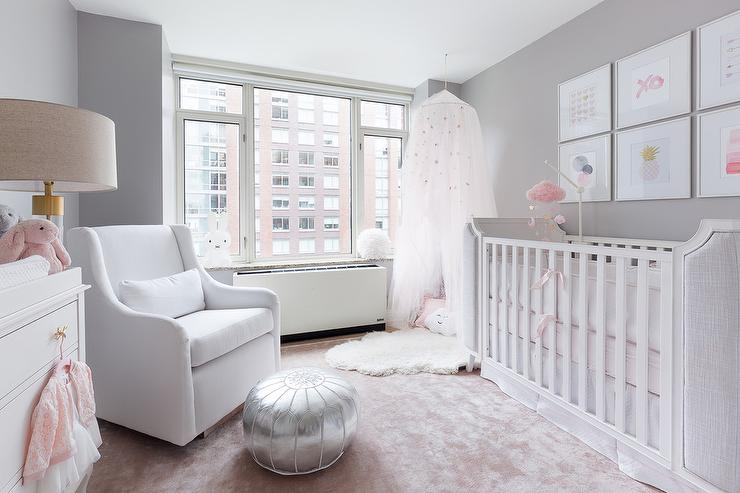 White And Gray Girls Nursery With Pink Rug Transitional Nursery