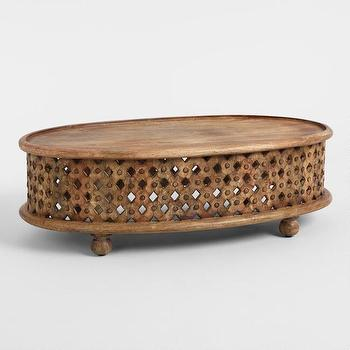 West Elm Oval Carved Wood Ellipse Coffee Table Look For Less - West elm carved wood side table