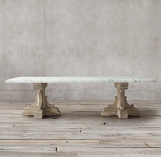 17th C French Bastide Oak And Marble Rectangular Dining Table