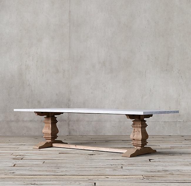 Salvaged Wood And Marble Trestle Rectangular Dining Table