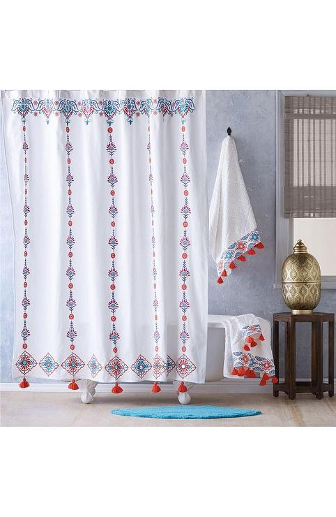 Aloka Coral Blue Floral Tassels Shower Curtain