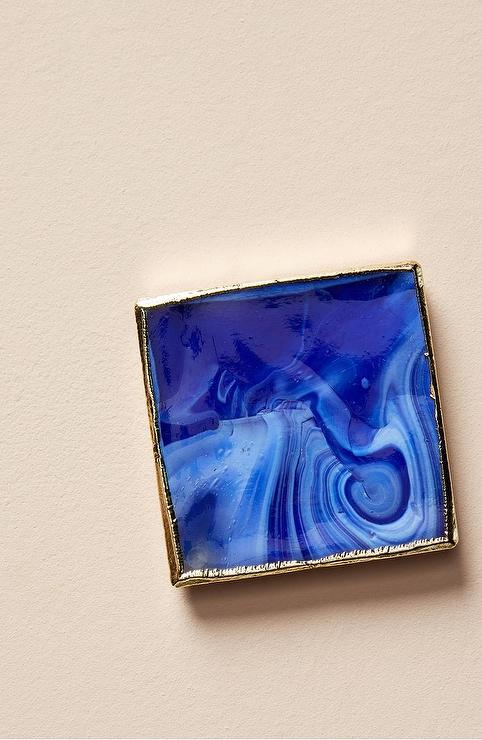 Square Blue Swirled Gold Border Ceramic Coaster