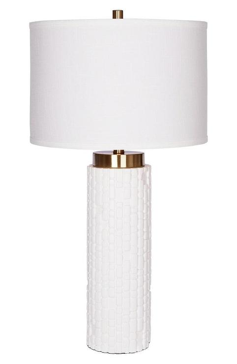 mya cylinder white textured resin table lamp