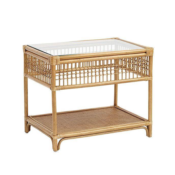 Beverly Lattice Rattan Glass Top Side Table