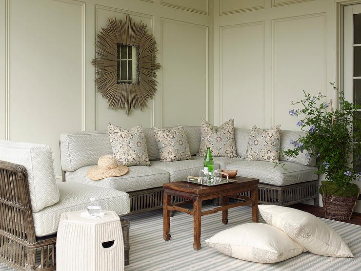 Wicker Sectional With Gray Outdoor Cushions Transitional