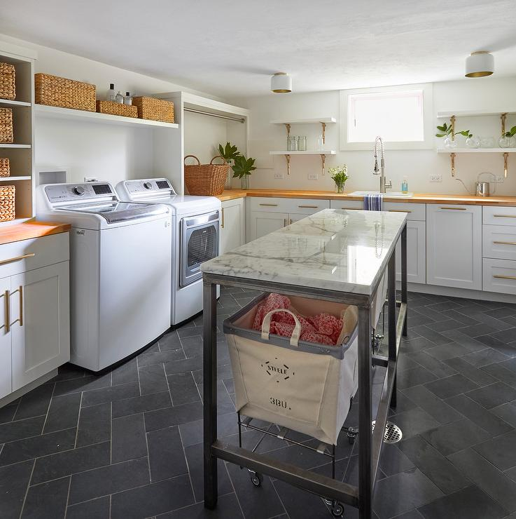 Laundry Room Pantry Ideas Benjamin Moore Antique White: Laundry Room Metal Pull Out Hamper Bins Design Ideas