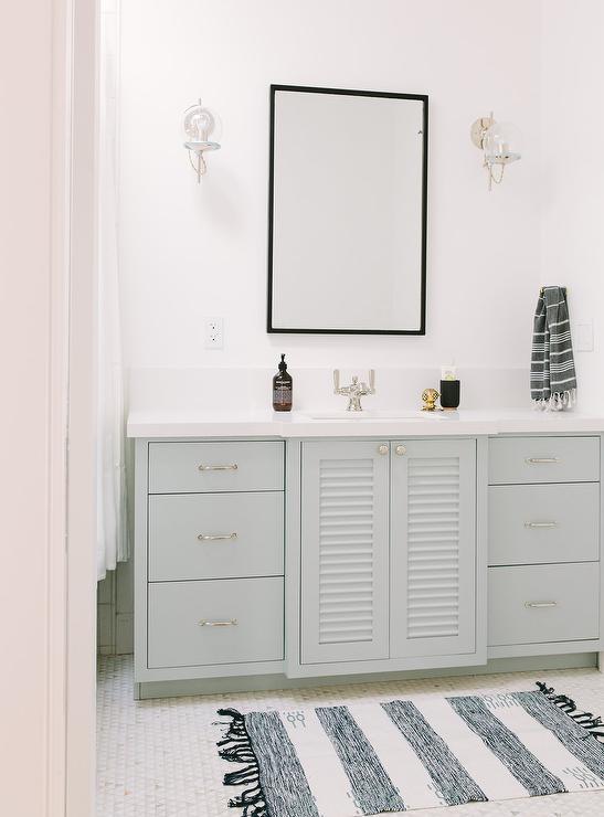timeless design c1ee6 87455 Light Gray Shutter Bath Vanity Cabinet Doors with Blue ...
