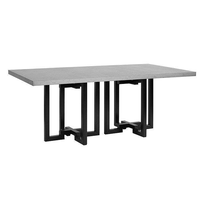 Metz Rectangle Zinc Top Black Metal Dining Table