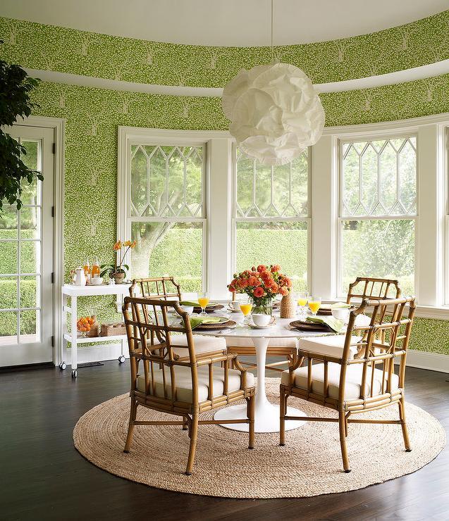Strange Round Green Dining Room With Rattan Dining Chairs Download Free Architecture Designs Rallybritishbridgeorg