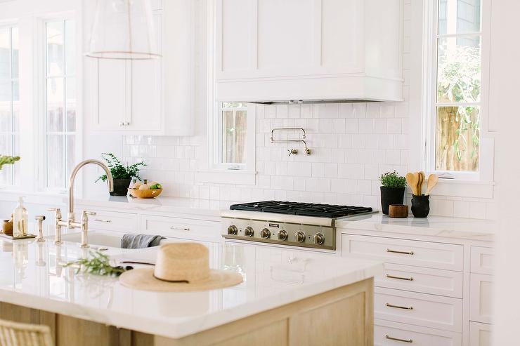 White Wood Panel Dome Range Hood With Square White