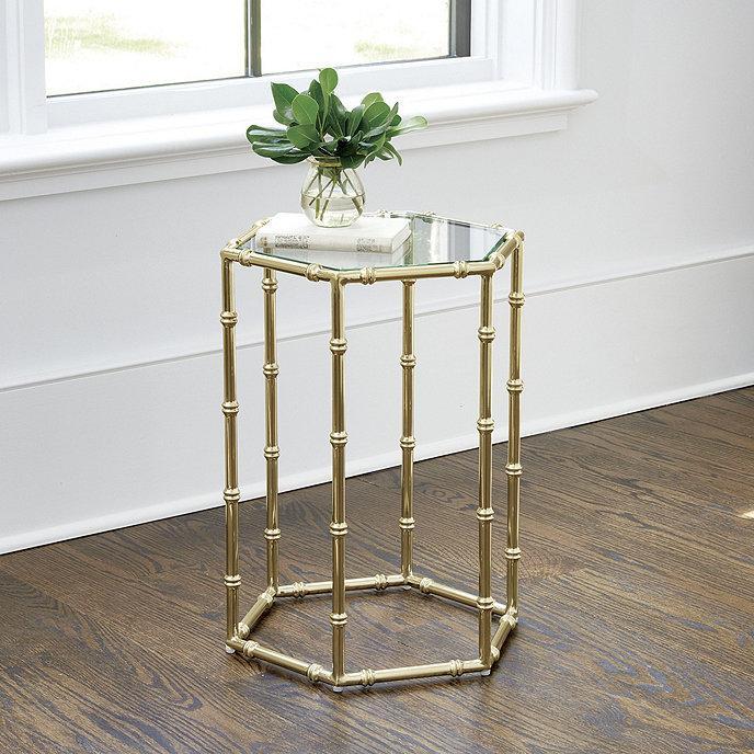 more photos 6c046 45762 Dorset Hexagonal Brass Bamboo Glass Side Table