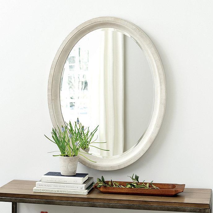 Terrazzo Oval Ribbed Whitewash Stone Mirror, Whitewash Oval Wood Wall Mirror