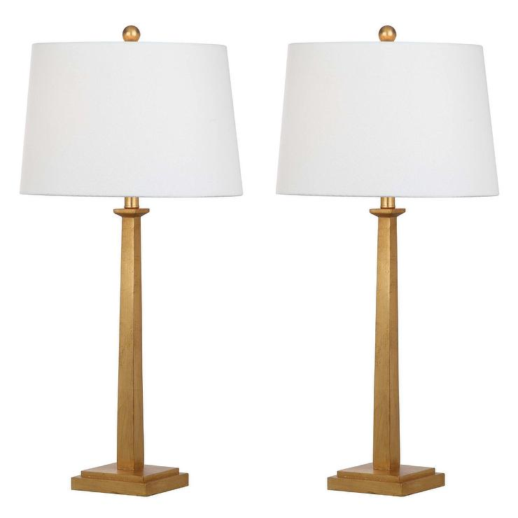 Andino Brass Stepped Square Base Table Lamp Set