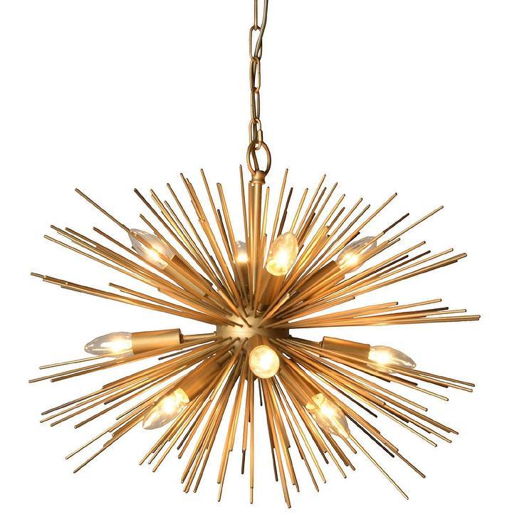 Y Decor Gold Sunburst 12 Light Chandelier