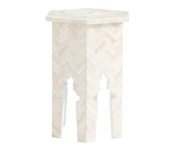 Black And White Chevron Bone Inlaid Faceted Side Table
