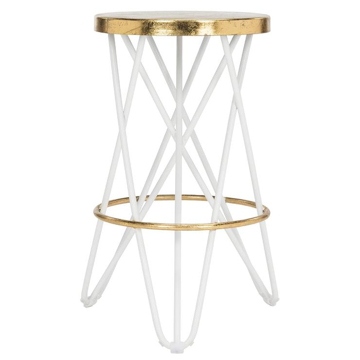 Pleasing Lorna Gold Leaf White Hairpin Counter Stool Pdpeps Interior Chair Design Pdpepsorg