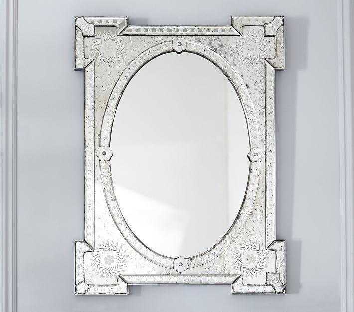 Monique Lhuillier Antiqued Printed Glass Frame Mirror