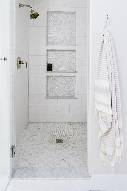 Marble Shower Tiles With Gold Shower Head Transitional
