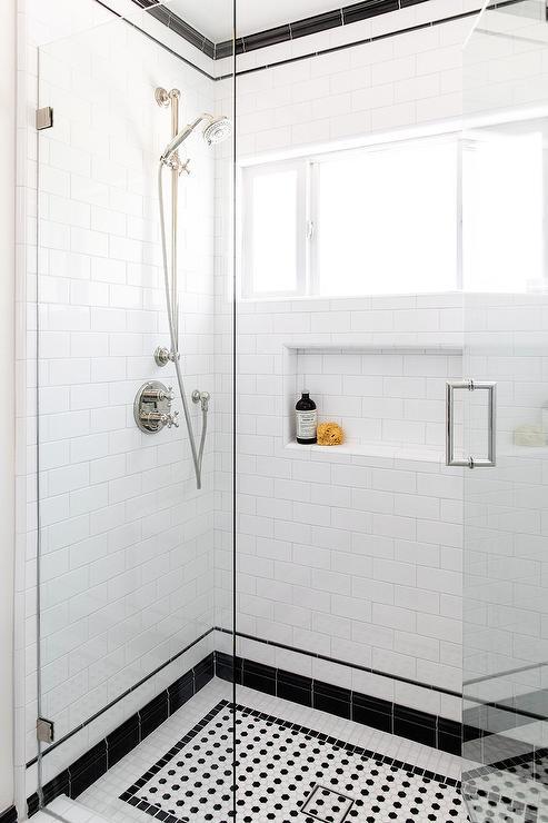 White Subway Shower Tiles With Black Border Tiles Transitional