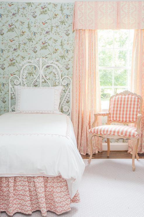 Pink Gingham Valance Part - 16: Blue and Pink Girls Room with Pink Gingham Chair