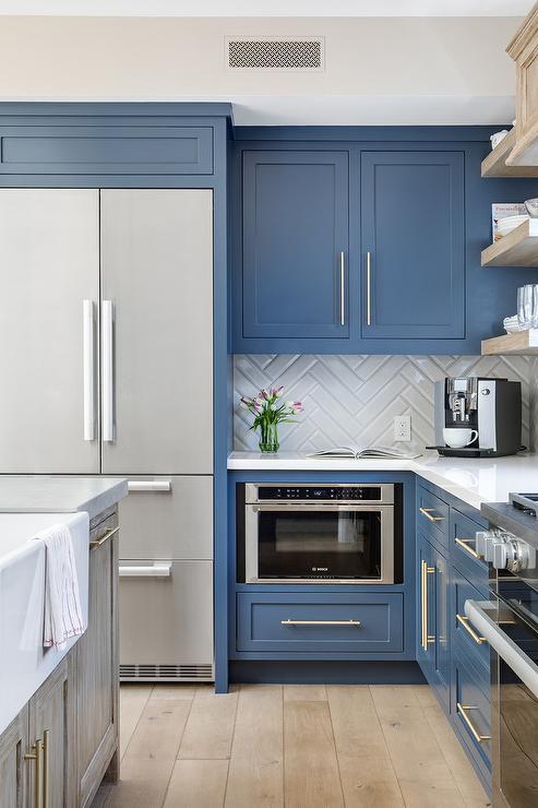Pantry Cabinets Framing Viking Fridge Next To Microwave
