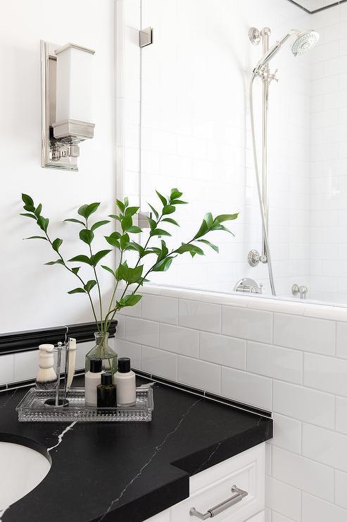 Honed Black Marble Bathroom Vanity Top Transitional Bathroom