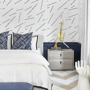 Heather Gray Bed With Blue Wainscoting