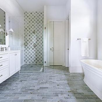 Gray Slate Herringbone Bathroom Floor Tiles Design Ideas