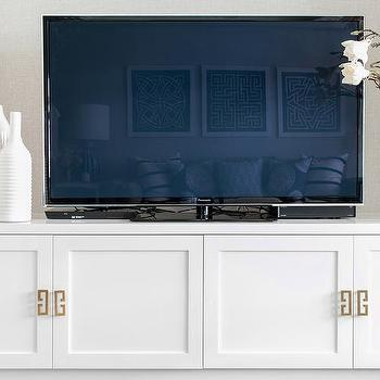 Low White TV Cabinet With Gold Greek Key Pulls