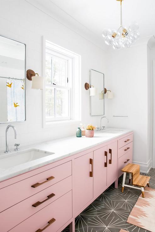 pink bath vanity cabinets with dark gray cement floor tiles rh decorpad com