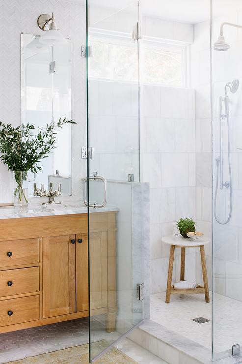 Large Marble Staggered Shower Wall Tiles Mix With Mosaic Marble Floor Tiles  To Create An Attractive Walk In Shower Design Finished With A Polished  Nickel ...