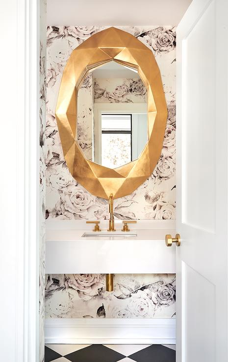 Pink Rose Wallpaper With Gold Mirror Contemporary Bathroom