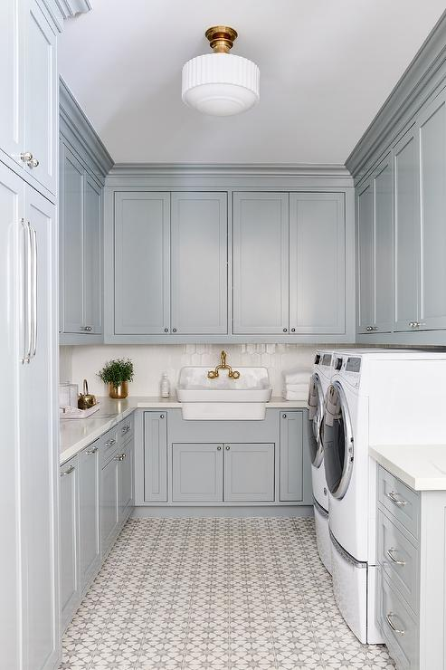 Gray Laundry Room Cabinets With White And Gray Cement