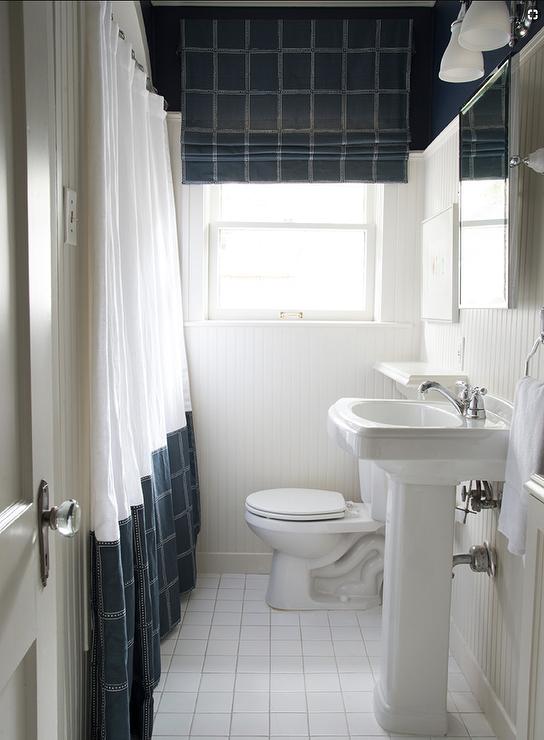 Blue Plaid Shower Curtain In Boys Bathroom