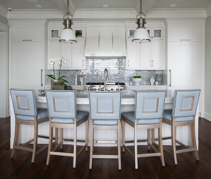 Blue Leather Stools at Curved Kitchen Island - Transitional ...