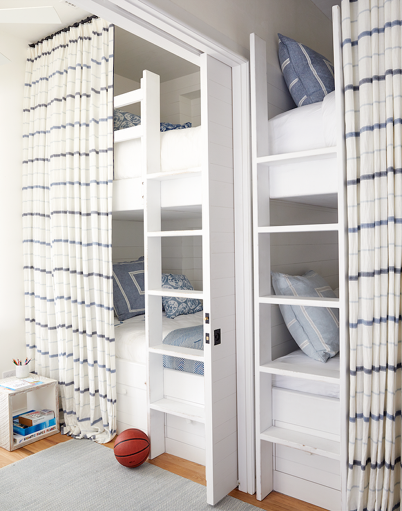White Built In Bunk Beds With White And Blue Stripe Privacy Curtains