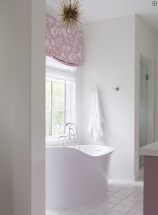 White And Pink Bathroom With White Mosaic Floor Tiles