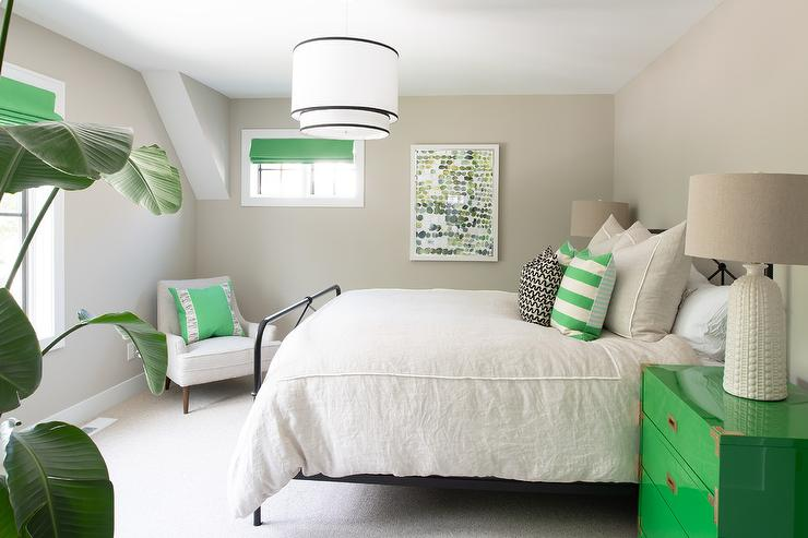 White and Green Bedroom with Gray Walls - Transitional - Bedroom