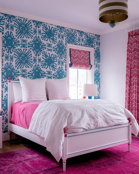 hot pink and blue girls room transitional bedroomhot pink and blue girls room