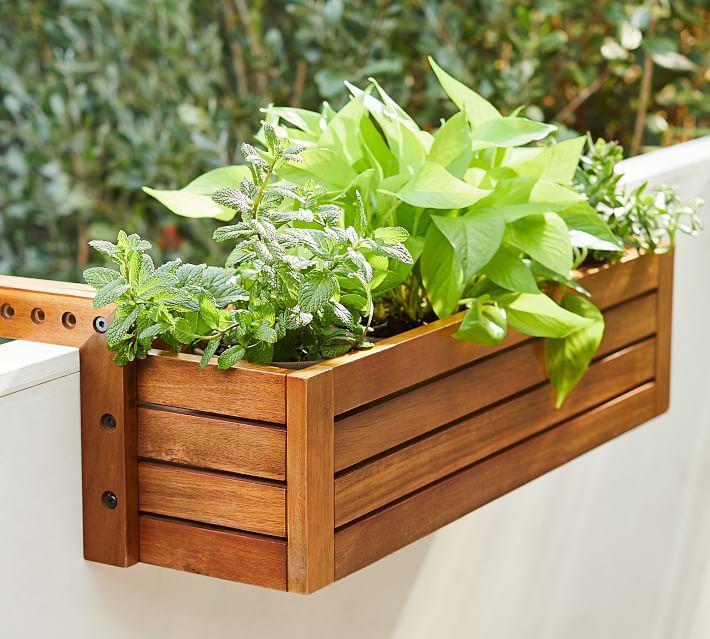 Juliet Balcony Wood Planter Box On Rail