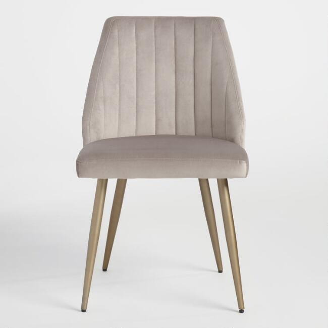 Leilani Gray Velvet Curved Channel Dining Chairs