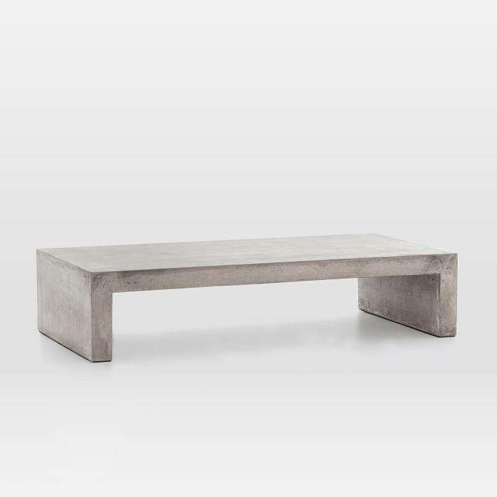 Rectangular Concrete Waterfall Indoor Outdoor Coffee Table - Rectangular concrete coffee table