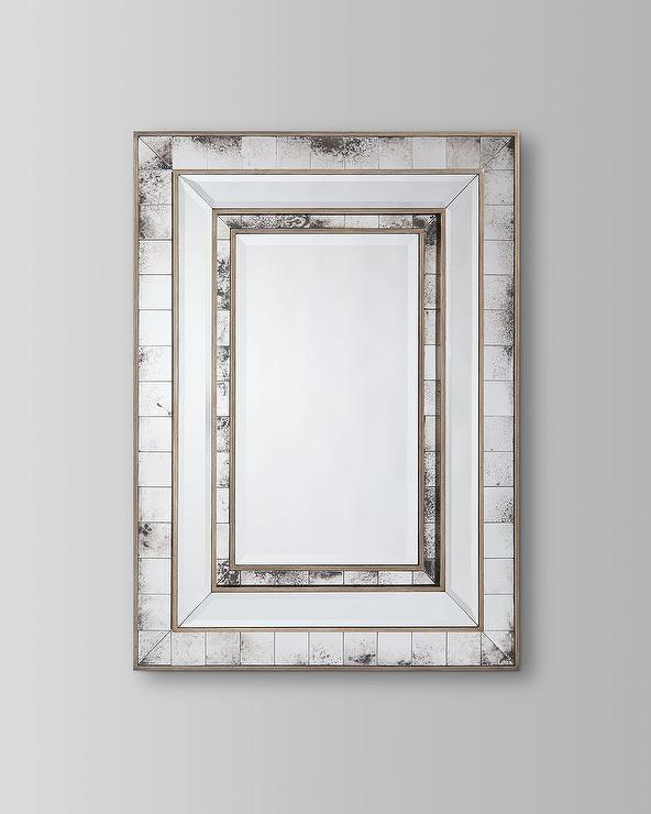 Izmir Antiqued Mirrored Frame Brass Wall Mirror