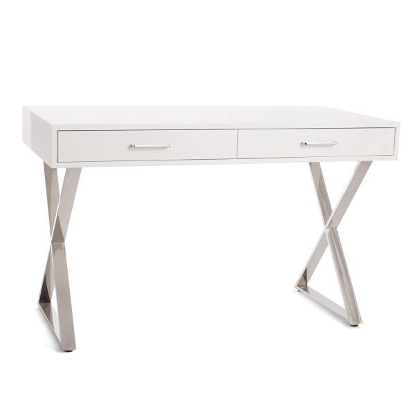 Contemporary Lacquer White Silver X Legs Desk