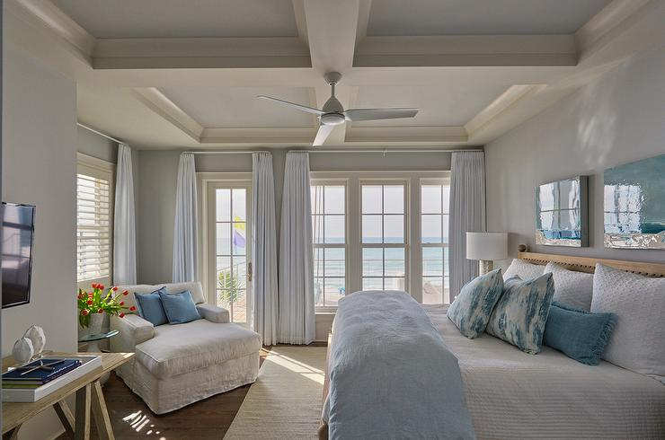 White And Blue Accent Colors In Cottage Style Bedroom