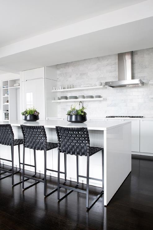 Magnificent Black Leather Weave Counter Stools At White Kitchen Unemploymentrelief Wooden Chair Designs For Living Room Unemploymentrelieforg