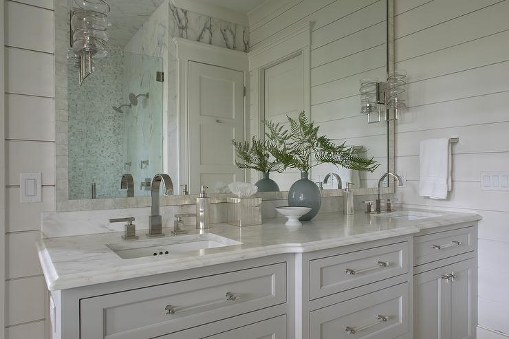 White And Gray Bathroom Design With His And Hers Sinks