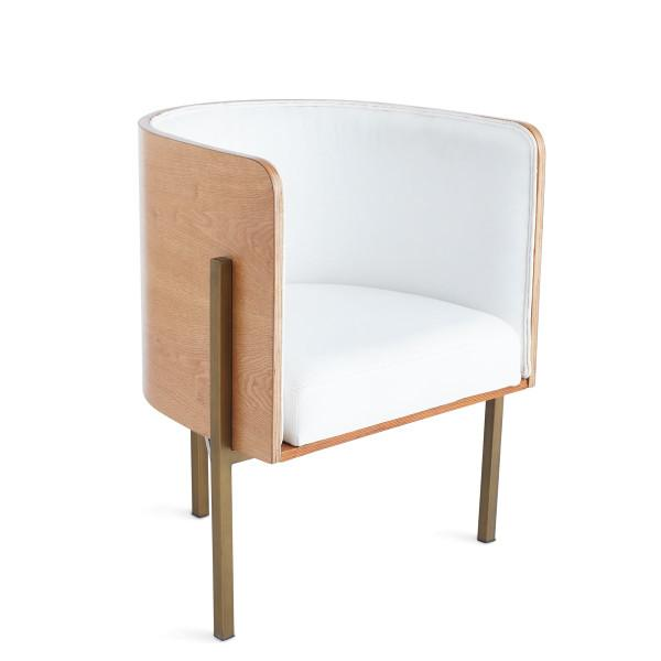 Modern White Cushion Barrel Back Wood Chair