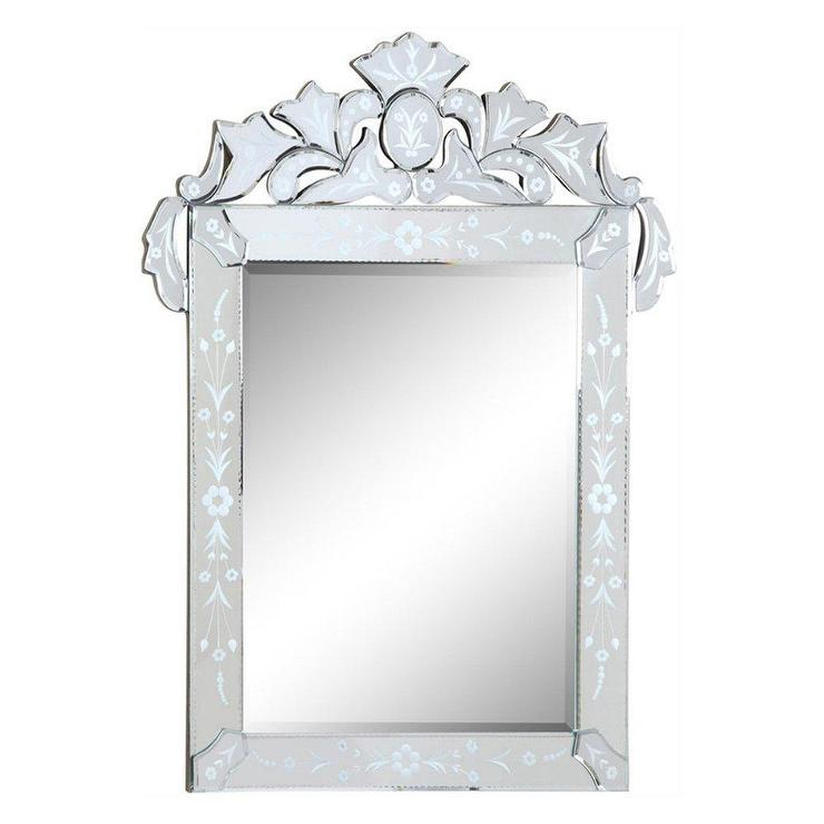 Ornate Etched Floral Venetian Wall Mirror